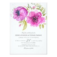 Watercolor Flowers Wedding Invitation