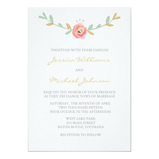 Watercolor Flowers Wedding Invitations Zazzle