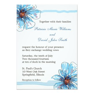 Watercolor Flowers Wedding Invitations|Blue Floral