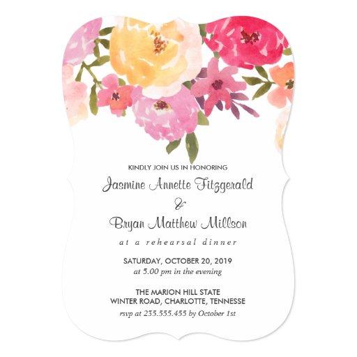 Watercolor Flowers Wedding Rehearsal Dinner Card