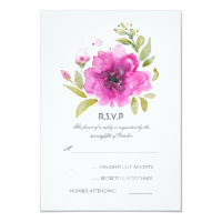 Watercolor Flowers Wedding RSVP Card