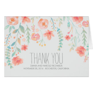 Watercolor Flowers Wedding Thank You Card