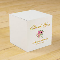 Watercolor Flowers Wedding Thank You White Favor Box
