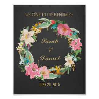 Watercolor Flowers Welcome Poster Print