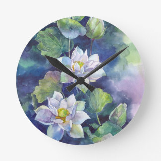 Watercolor flowers white lotos illustration flower round clock