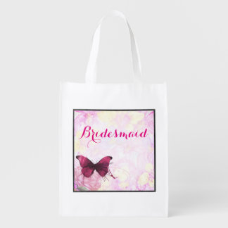 Watercolor Flowers with Butterfly Wedding Grocery Bag