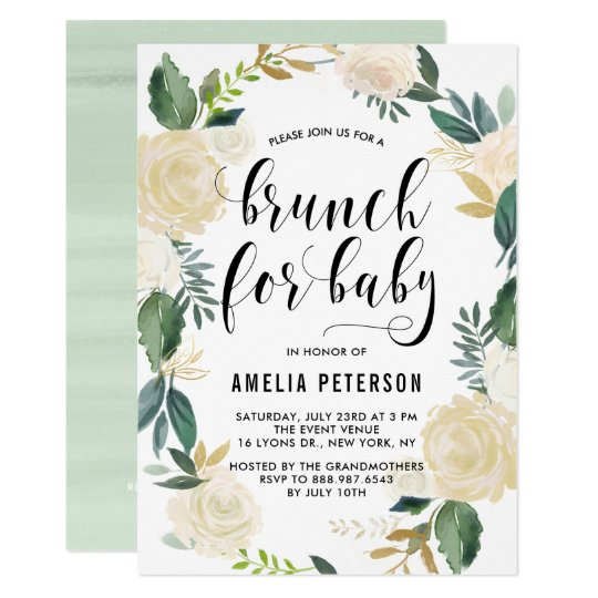 Watercolor Flowers With Glitter Baby Shower Brunch Invitation Zazzle