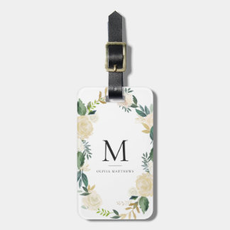 Watercolor Flowers with Gold Foil Glitter Monogram Luggage Tag