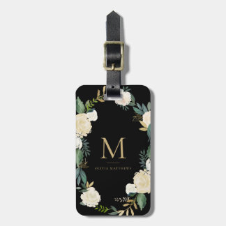Watercolor Flowers with Gold Foil Monogram Black Bag Tag