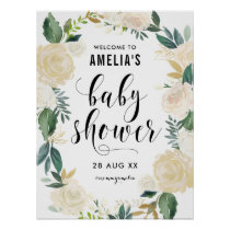 Watercolor Flowers with Gold Glitter Baby Shower Poster