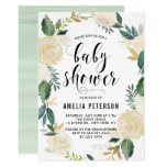 Watercolor Flowers With Gold Glitter Baby Showers Card at Zazzle