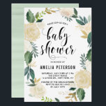 """Watercolor Flowers with Gold Glitter Baby Showers Card<br><div class=""""desc"""">Elegant and whimsical baby shower invitation featuring watercolor floral pattern with faux gold foil and faux gold glitter accents - there&#39;s no actual gold foil or glitter. The floral wreath invitation is perfect for spring baby showers.</div>"""