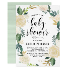 Watercolor Flowers with Gold Glitter Baby Showers Card