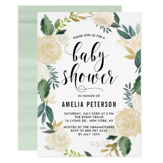 Watercolor flowers with gold glitter baby showers card zazzle watercolor flowers with gold glitter baby showers card stopboris Image collections