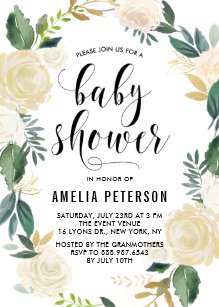 Floral baby shower invitations zazzle watercolor flowers with gold glitter baby showers invitation filmwisefo