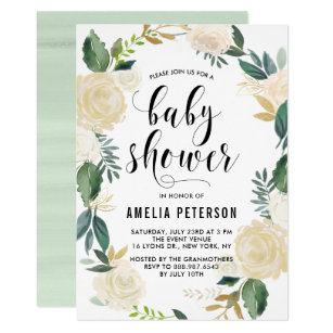 Watercolor Flowers With Gold Glitter Baby Showers Invitation