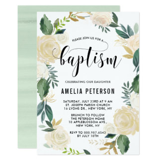 Watercolor Flowers with Gold Glitter Baptism Invitation