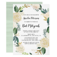 Watercolor Flowers with Gold Glitter Bat Mitzvah Card