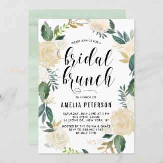 Watercolor Flowers with Gold Glitter Bridal Brunch Invitation