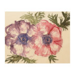 Watercolor flowers wood wall decor