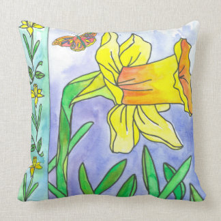 Watercolor Flowers Yellow Daffodil Butterfly Throw Pillow