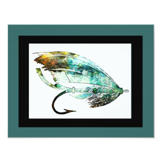 Watercolor Fly Fishing Lure art Card