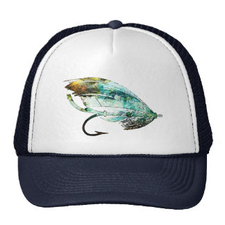 Watercolor Fly Fishing Lure art Hat