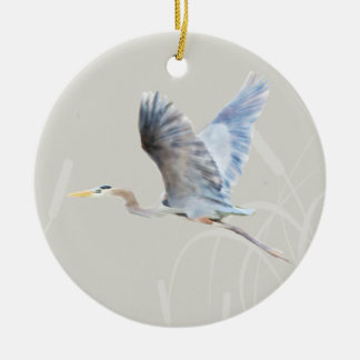 Watercolor Flying Blue Heron Ceramic Ornament