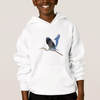 Watercolor Flying Blue Heron Hoodie