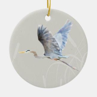 Watercolor Flying Blue Heron Christmas Ornament