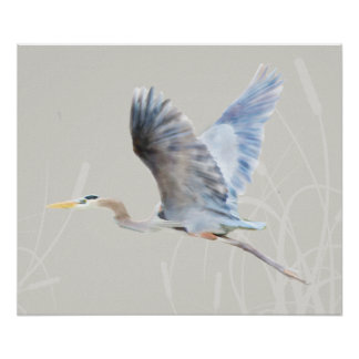Watercolor Flying Blue Heron Print
