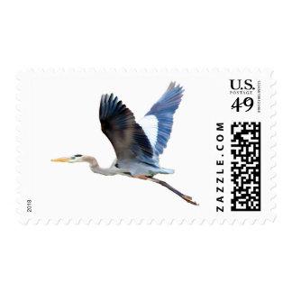 Watercolor Flying Blue Heron Stamp