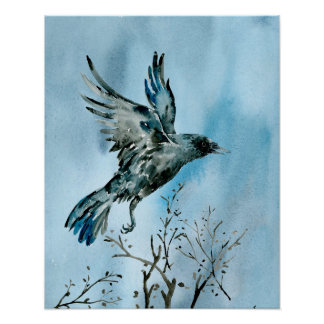 Watercolor Flying Crow Poster