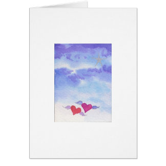 Watercolor Flying Hearts Card