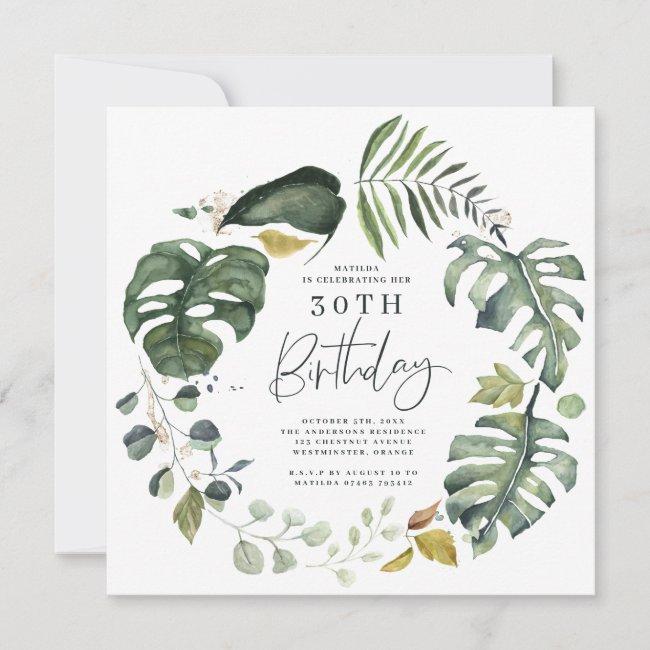 Watercolor foliage 30th birthday party invite