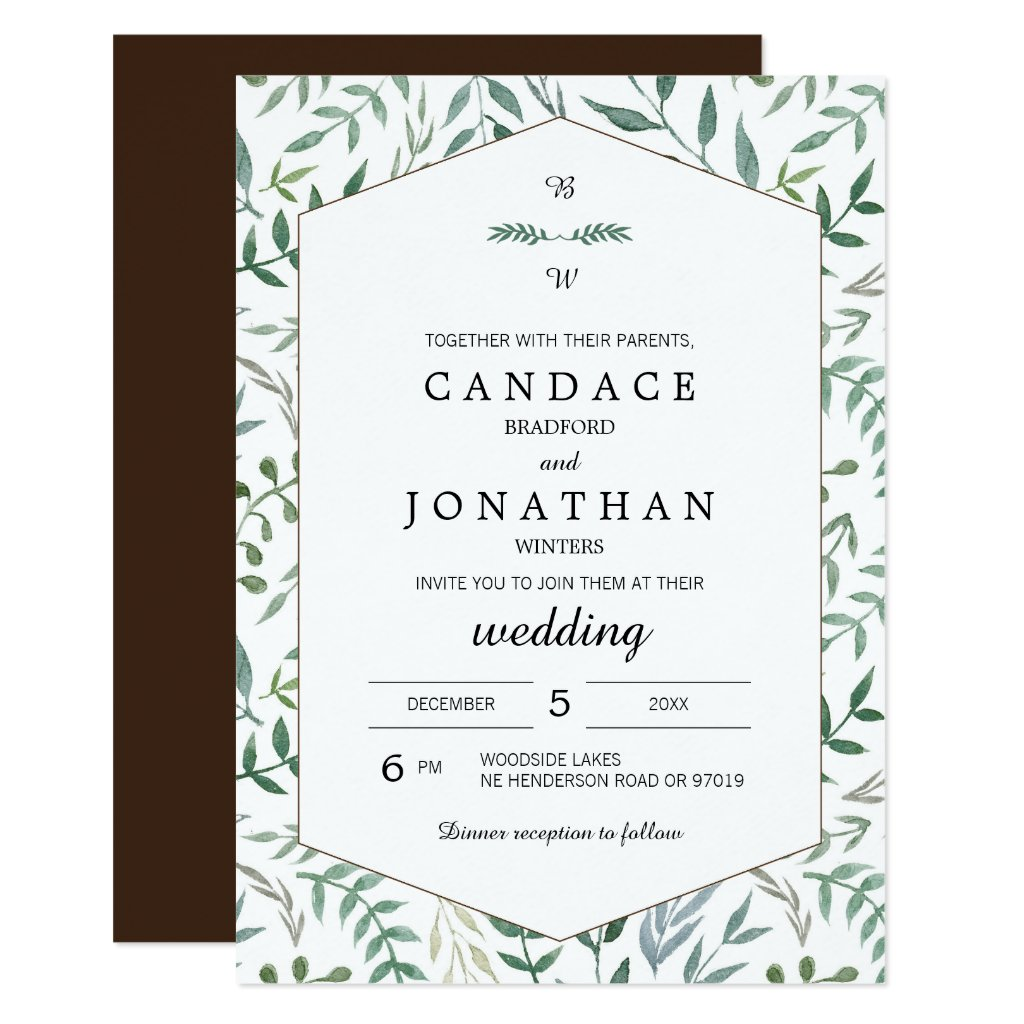 Watercolor Foliage Greenery Wedding Card