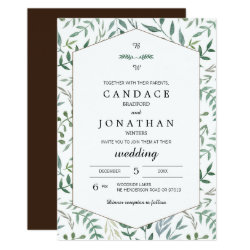 Watercolor Foliage Greenery Wedding Card