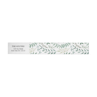 Watercolor Foliage Greenery Wedding Wrap Around Address Label