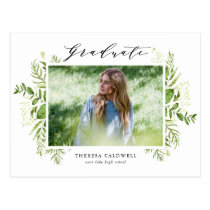 Watercolor Foliage Photo Graduation Postcard