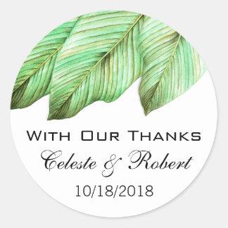 Watercolor Foliage Tropical Wedding Classic Round Sticker