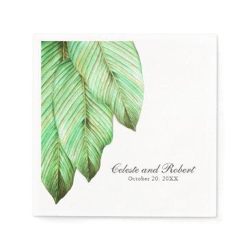 Watercolor Foliage Tropical Wedding Paper Napkin