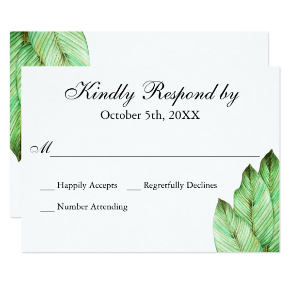 Watercolor Foliage Tropical Wedding RSVP Card