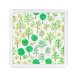 Watercolor forest in doodle style acrylic tray