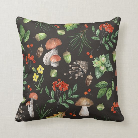 Watercolor Forest Mushrooms Leaves Flowers | Throw Pillow
