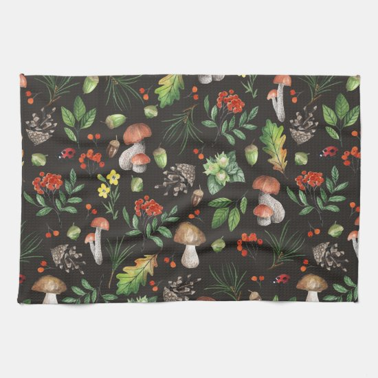 Watercolor Forest Mushrooms Leaves Flowers | Towel