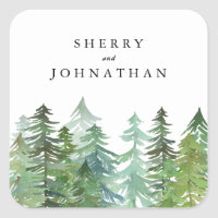 Watercolor forest wedding square sticker