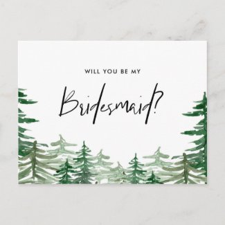 Watercolor Forest Will You Be My Bridesmaid Invitation Postcard