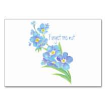 Watercolor Forget-me-not flower Pretty blue floral Table Number