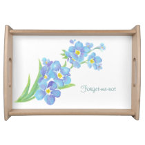 Watercolor Forget-me-not flower Serving Tray