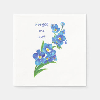 "Watercolor ""Forget me not"" Pretty Blue Flower art Paper Napkin"